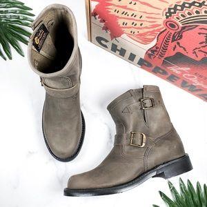 "Chippewa Raynard Harness 7"" Grey Crazy Horse Boots"